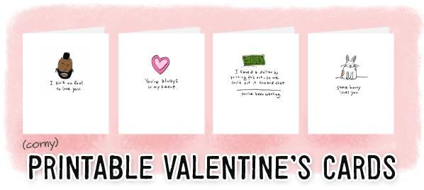 free printable valentine's day cards (for the thrifty and last, Ideas