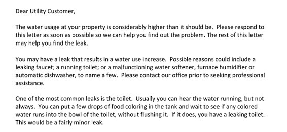 leaking water letter