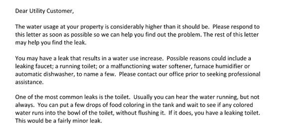 leaking water letter