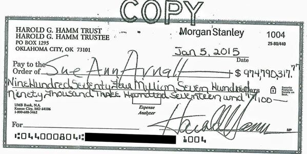 Actual check written to settle a divorce between Hamm and Arnall