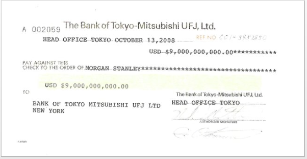The check written to Morgan Stanley to help keep it afloat during the financial crisis