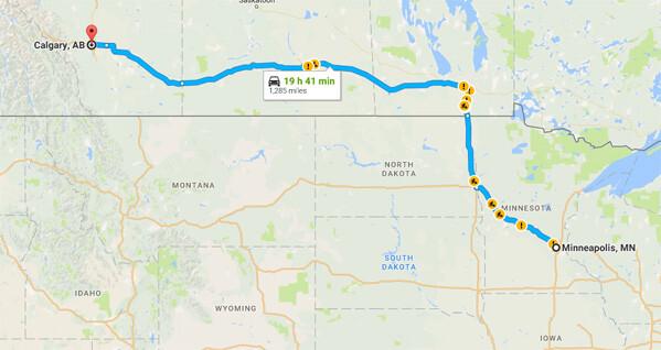 It's a loooong drive to Calgary, Alberta, Canada.