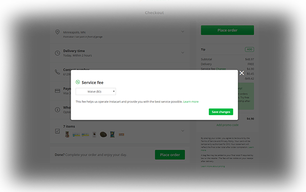 service fee option instacart